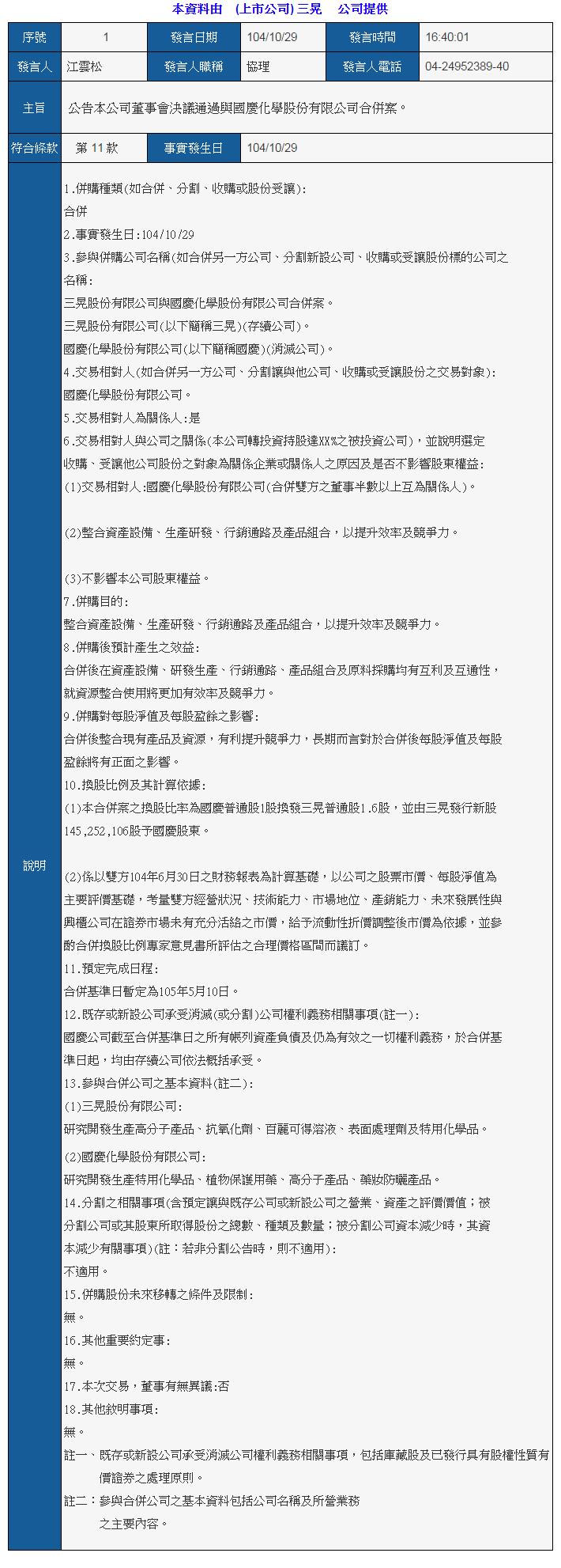 公告本公司董事會決議通過與國慶化學股份有限公司合併案
